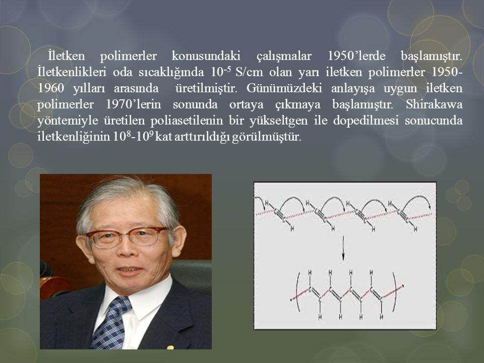 İletken polimerler konusundaki çalışmalar 1950'lerde başlamıştır