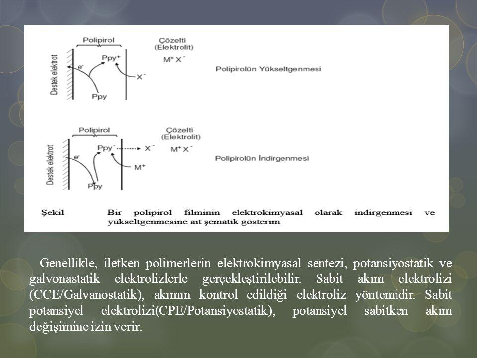 Genellikle, iletken polimerlerin elektrokimyasal sentezi, potansiyostatik ve galvonastatik elektrolizlerle gerçekleştirilebilir.