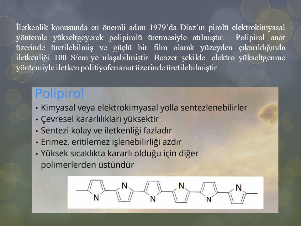 İletkenlik konusunda en önemli adım 1979'da Diaz'ın pirolü elektrokimyasal yöntemle yükseltgeyerek polipirolü üretmesiyle atılmıştır.