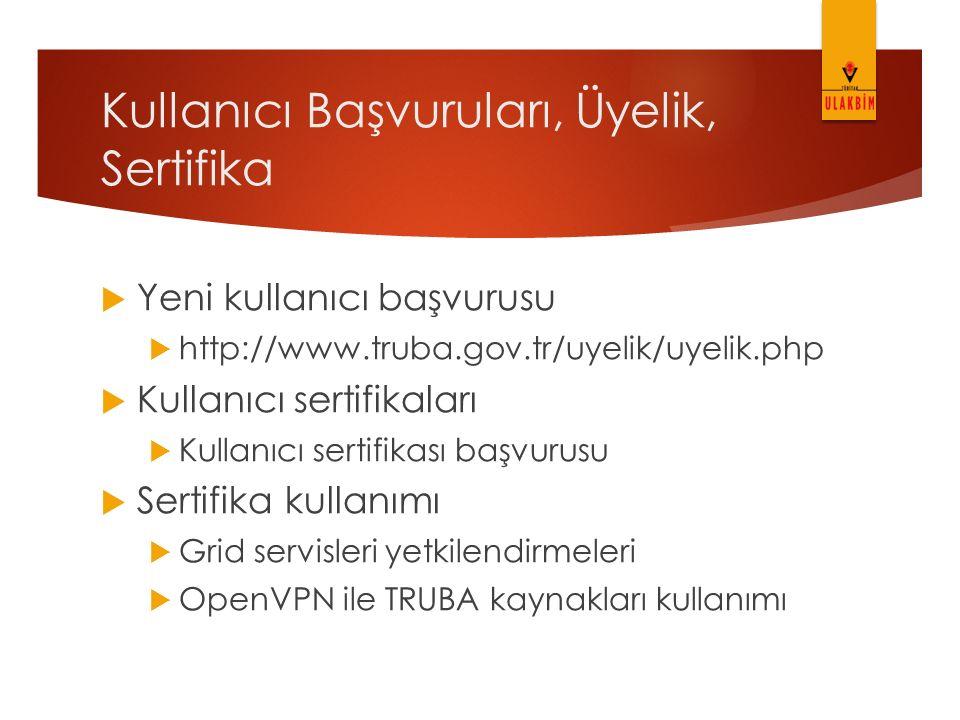 Kullanıcı Başvuruları, Üyelik, Sertifika
