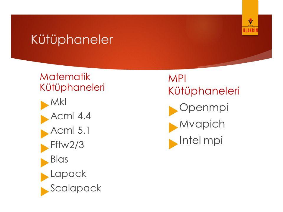 MPI Kütüphaneleri Openmpi Mvapich Intel mpi Matematik Kütüphaneleri