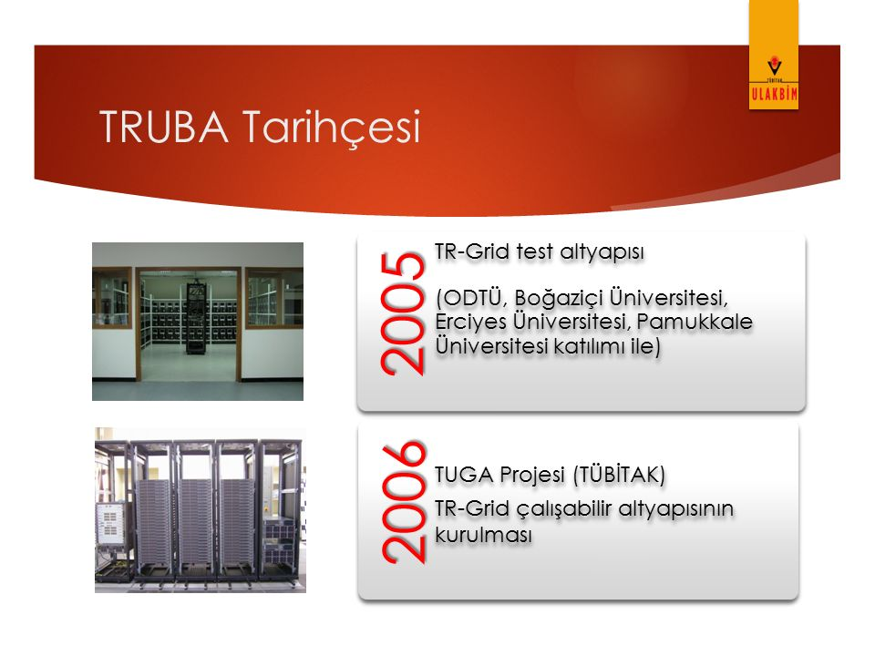 2005 2006 TRUBA Tarihçesi TR-Grid test altyapısı