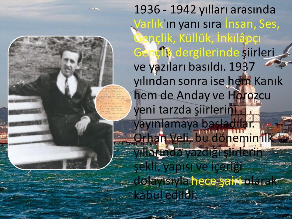 1936 - 1942 yılları arasında Varlık ın yanı sıra İnsan, Ses, Gençlik, Küllük, İnkılâpçı Gençlik dergilerinde şiirleri ve yazıları basıldı.
