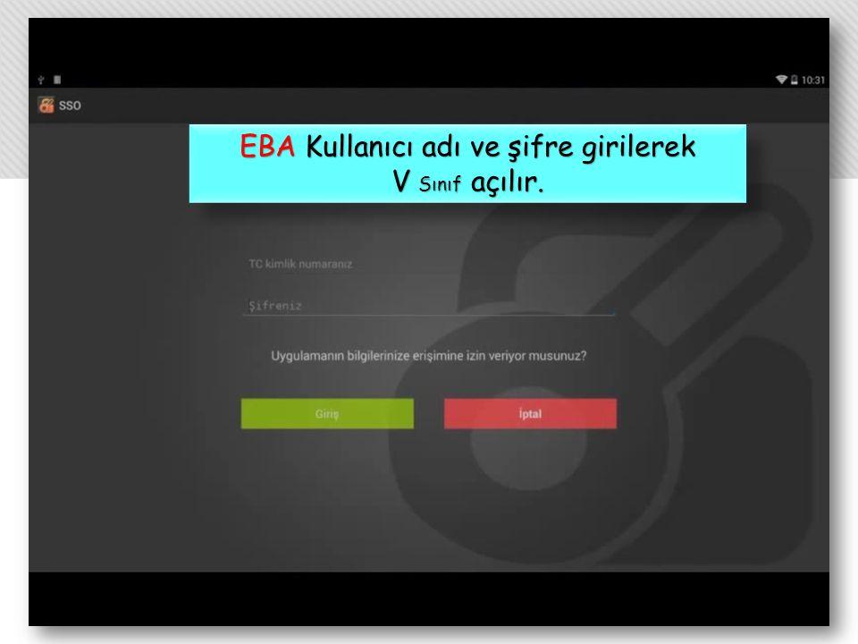 EBA Kullanıcı adı ve şifre girilerek