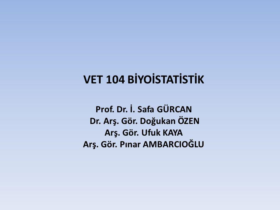 VET 104 BİYOİSTATİSTİK Prof. Dr. İ. Safa GÜRCAN Dr. Arş. Gör