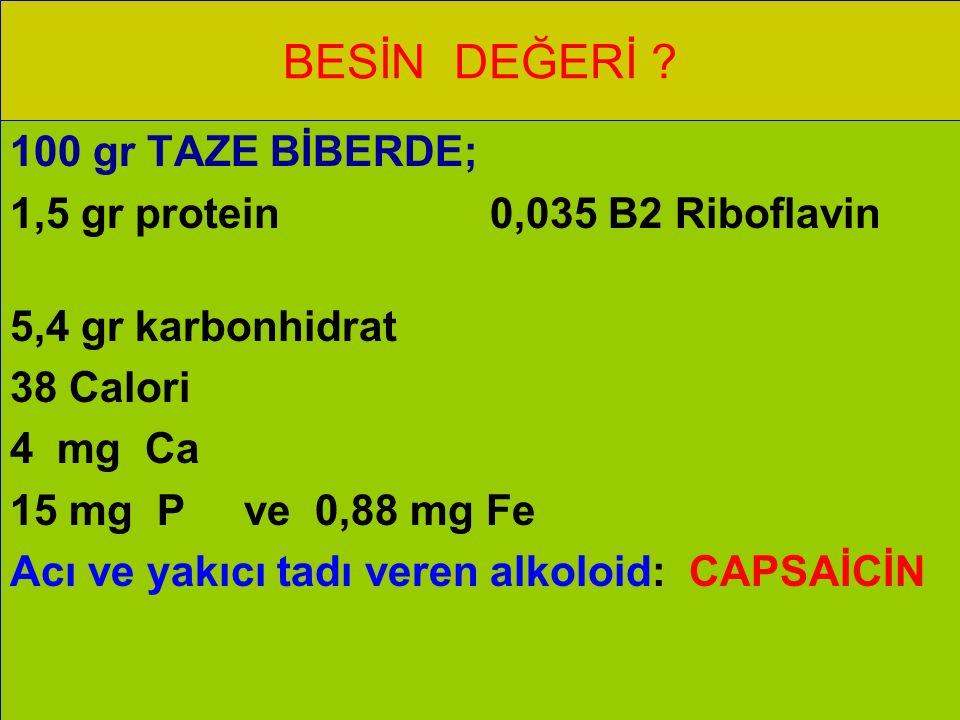 BESİN DEĞERİ 100 gr TAZE BİBERDE; 1,5 gr protein 0,035 B2 Riboflavin