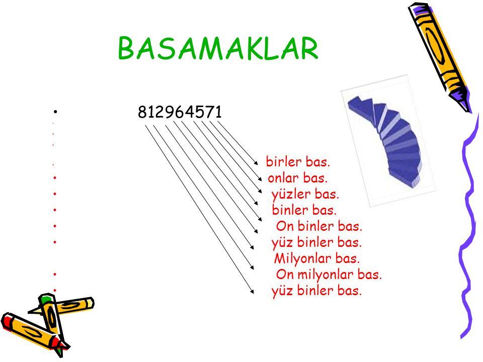 BASAMAKLAR 812964571 onlar bas. yüzler bas. binler bas. On binler bas.