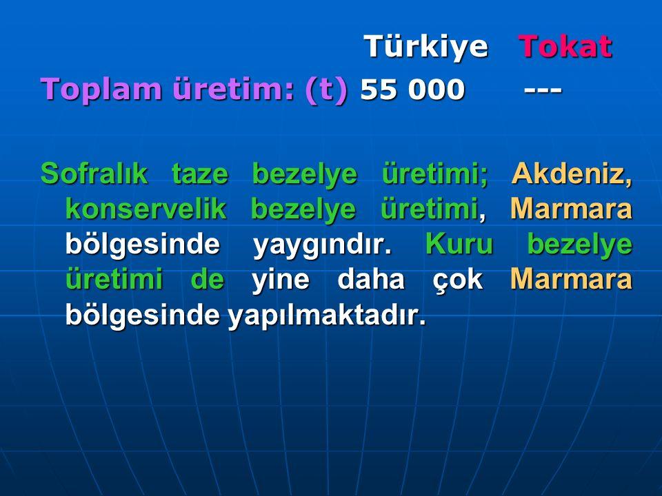 Türkiye Tokat Toplam üretim: (t) 55 000 ---
