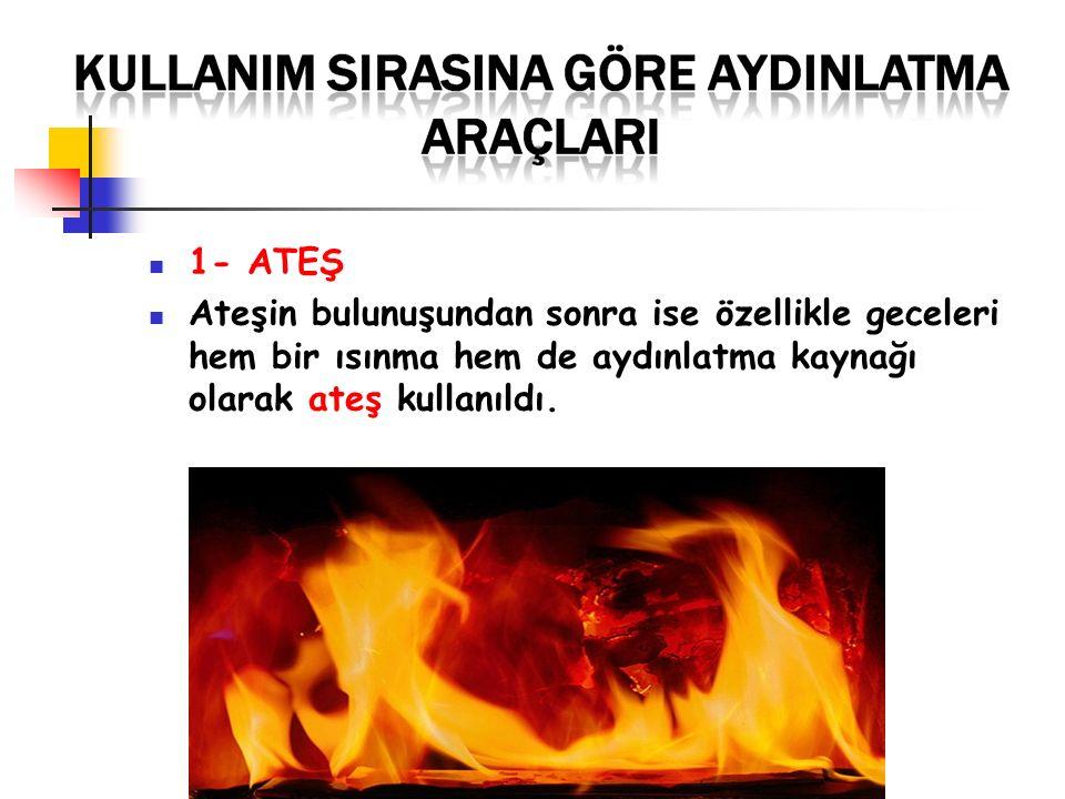 1- ATEŞ Ateşin bulunuşundan sonra ise özellikle geceleri hem bir ısınma hem de aydınlatma kaynağı olarak ateş kullanıldı.