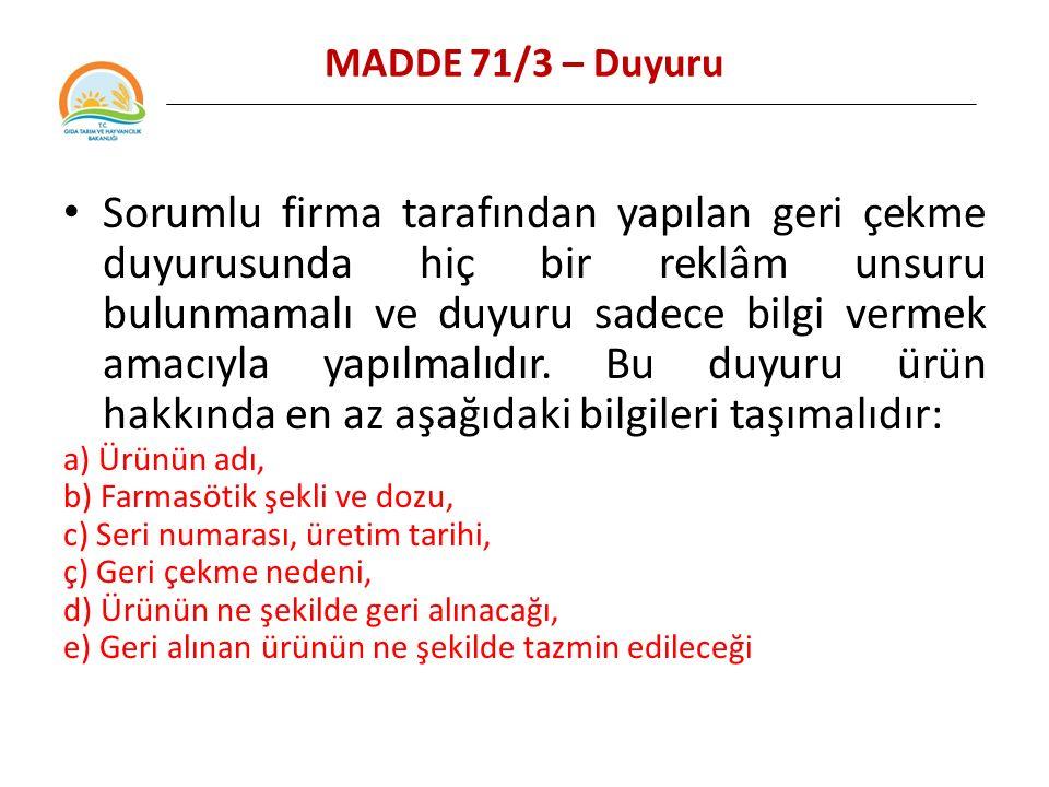 MADDE 71/3 – Duyuru