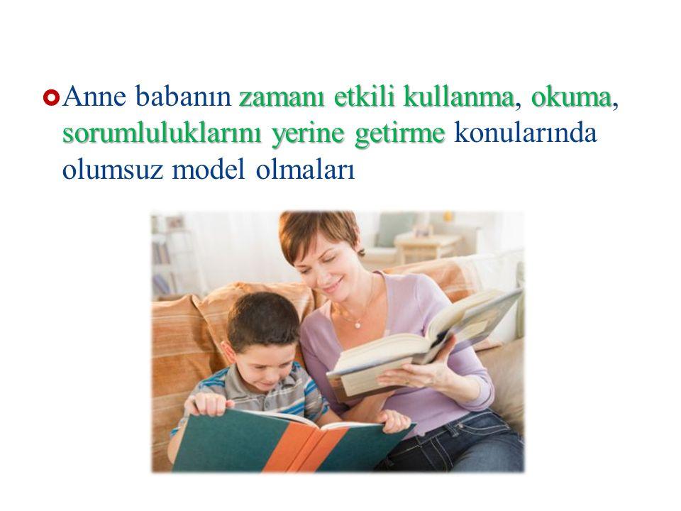 Anne babanın zamanı etkili kullanma, okuma, sorumluluklarını yerine getirme konularında olumsuz model olmaları