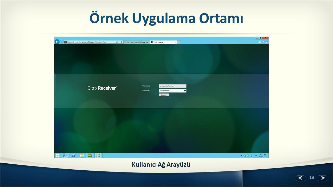 Örnek Uygulama Ortamı Kullanıcı Ağ Arayüzü