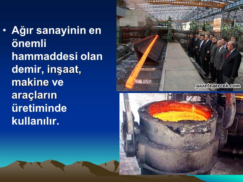 Ağır sanayinin en önemli hammaddesi olan demir, inşaat, makine ve araçların üretiminde kullanılır.