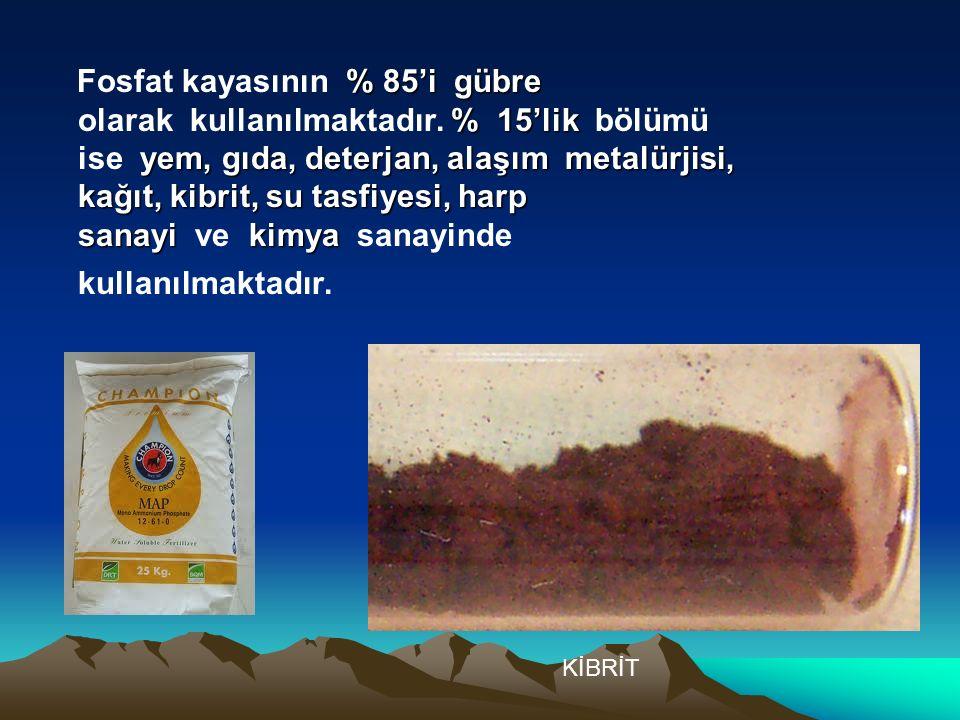 Fosfat kayasının % 85'i gübre olarak kullanılmaktadır