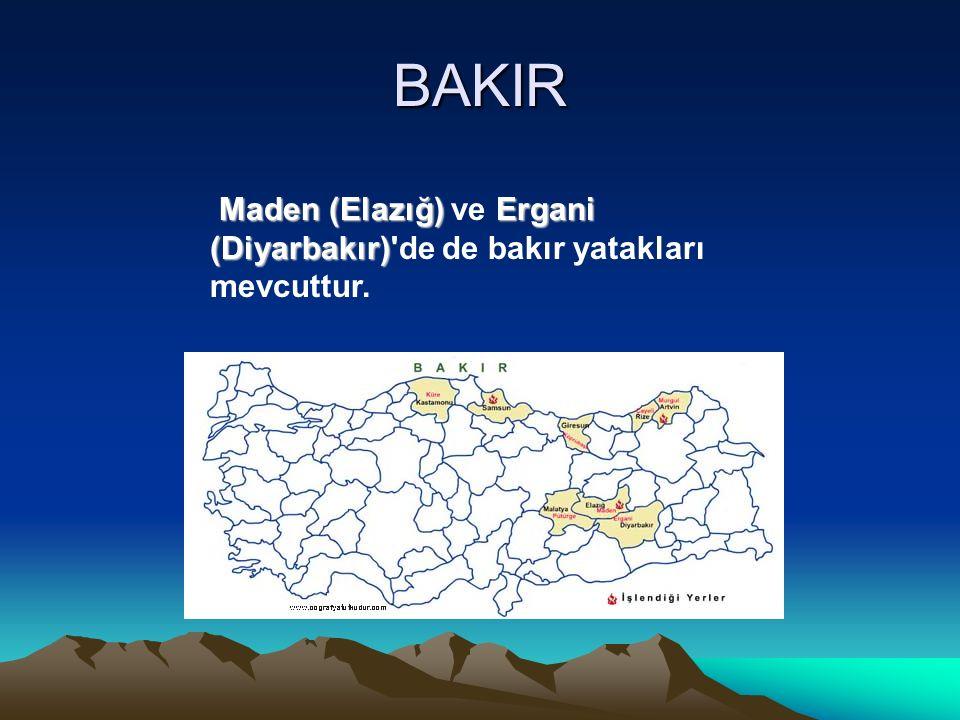 BAKIR Maden (Elazığ) ve Ergani (Diyarbakır) de de bakır yatakları mevcuttur.