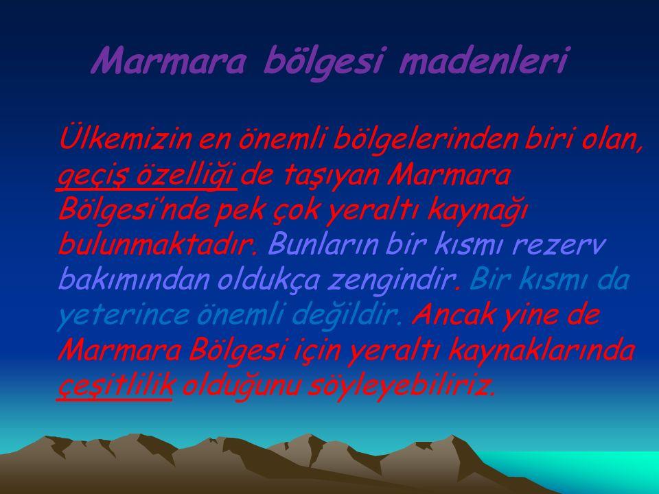 Marmara bölgesi madenleri