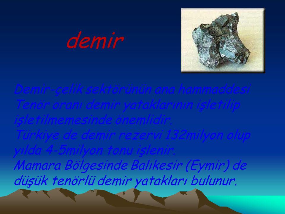 demir Demir-çelik sektörünün ana hammaddesi
