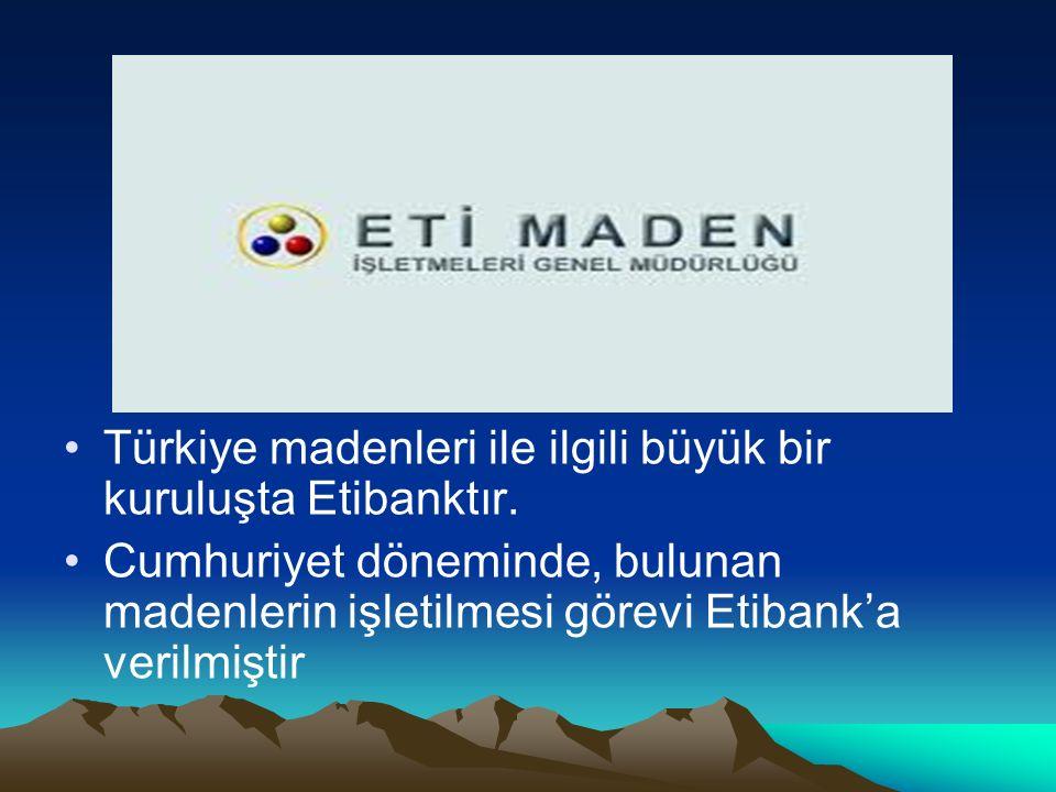 Türkiye madenleri ile ilgili büyük bir kuruluşta Etibanktır.