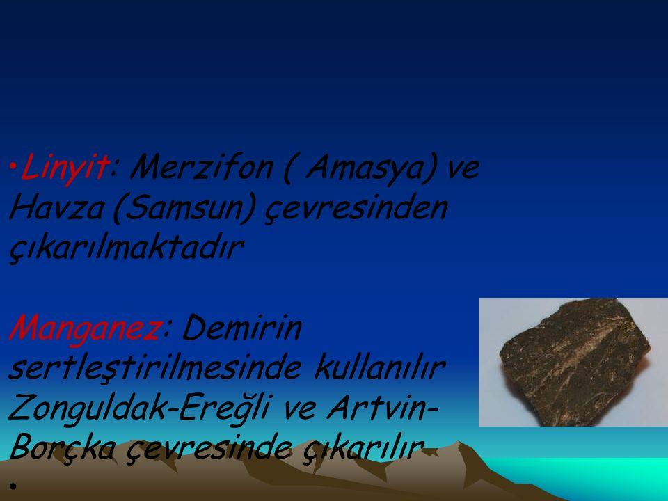 Linyit: Merzifon ( Amasya) ve Havza (Samsun) çevresinden çıkarılmaktadır