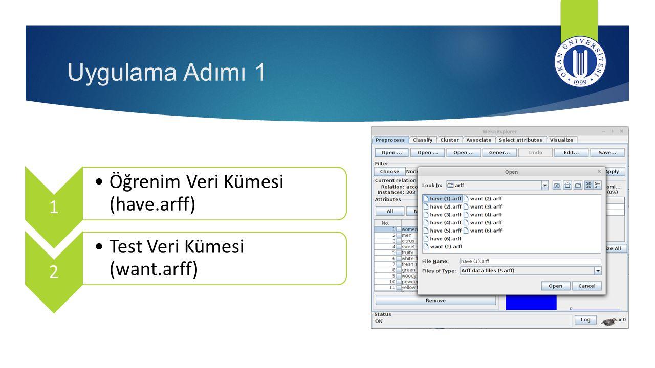 Uygulama Adımı 1 Öğrenim Veri Kümesi (have.arff)