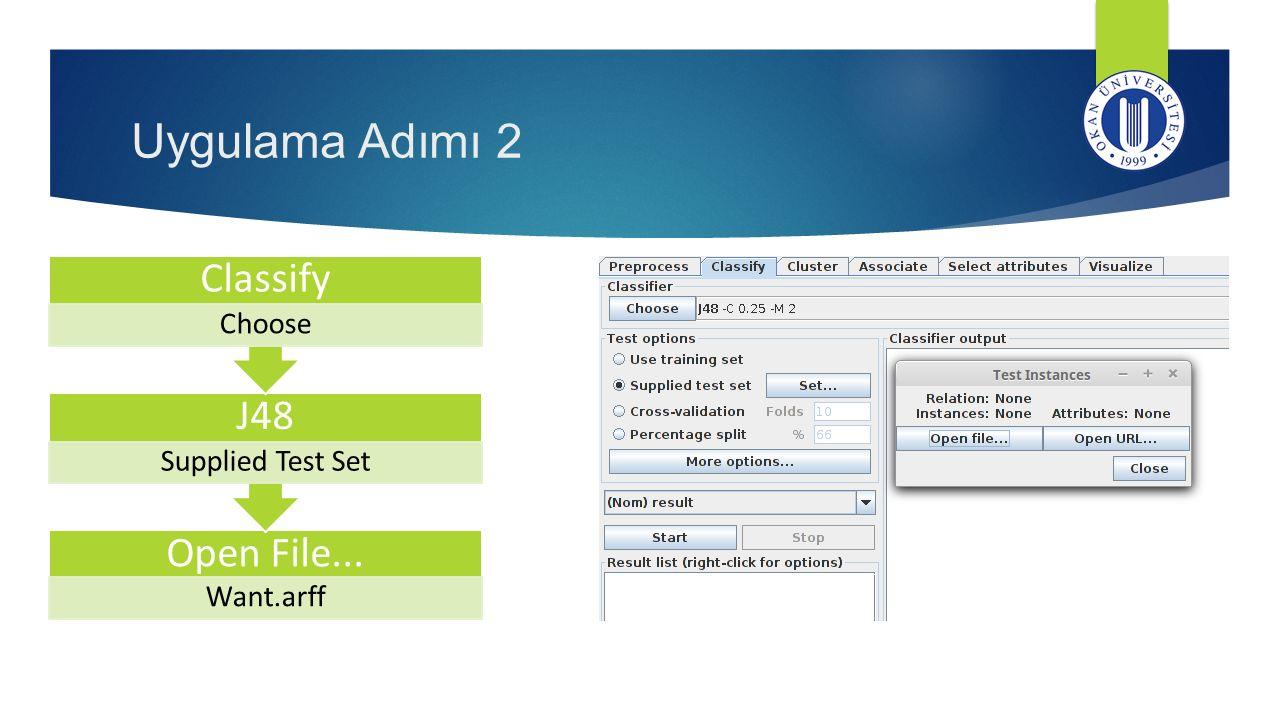 Uygulama Adımı 2 Classify J48 Open File...