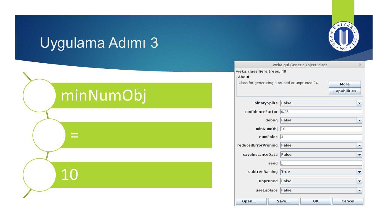 minNumObj = 10 Uygulama Adımı 3