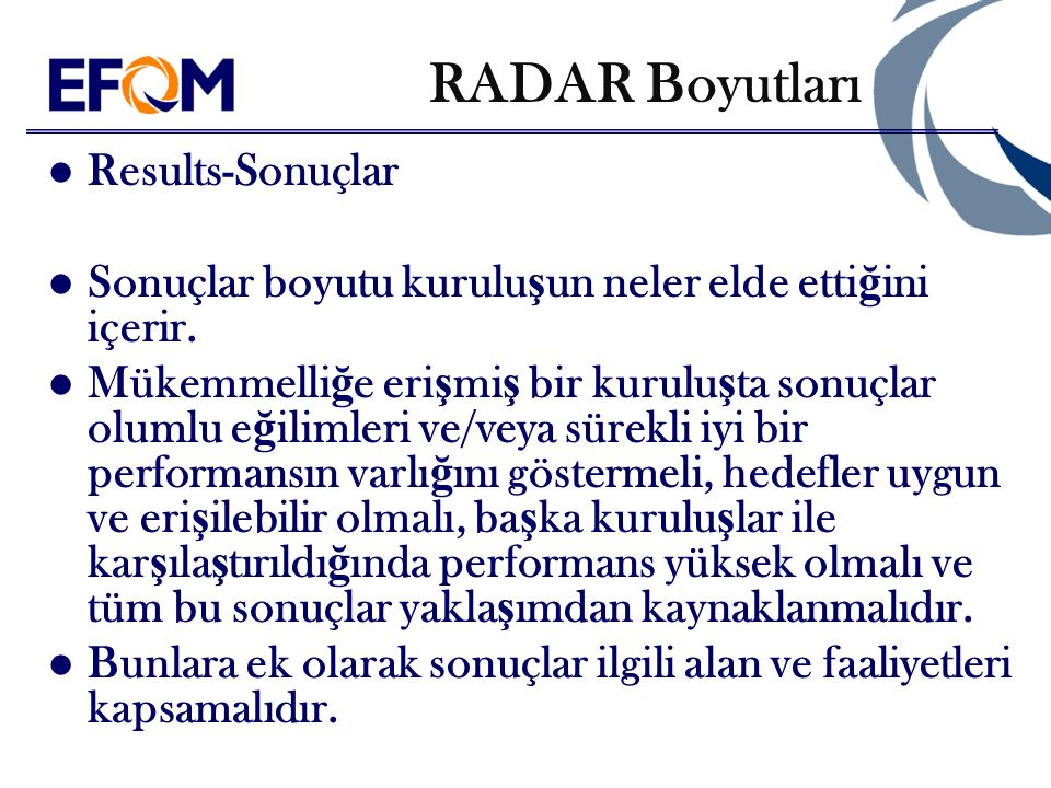 RADAR Boyutları Results-Sonuçlar