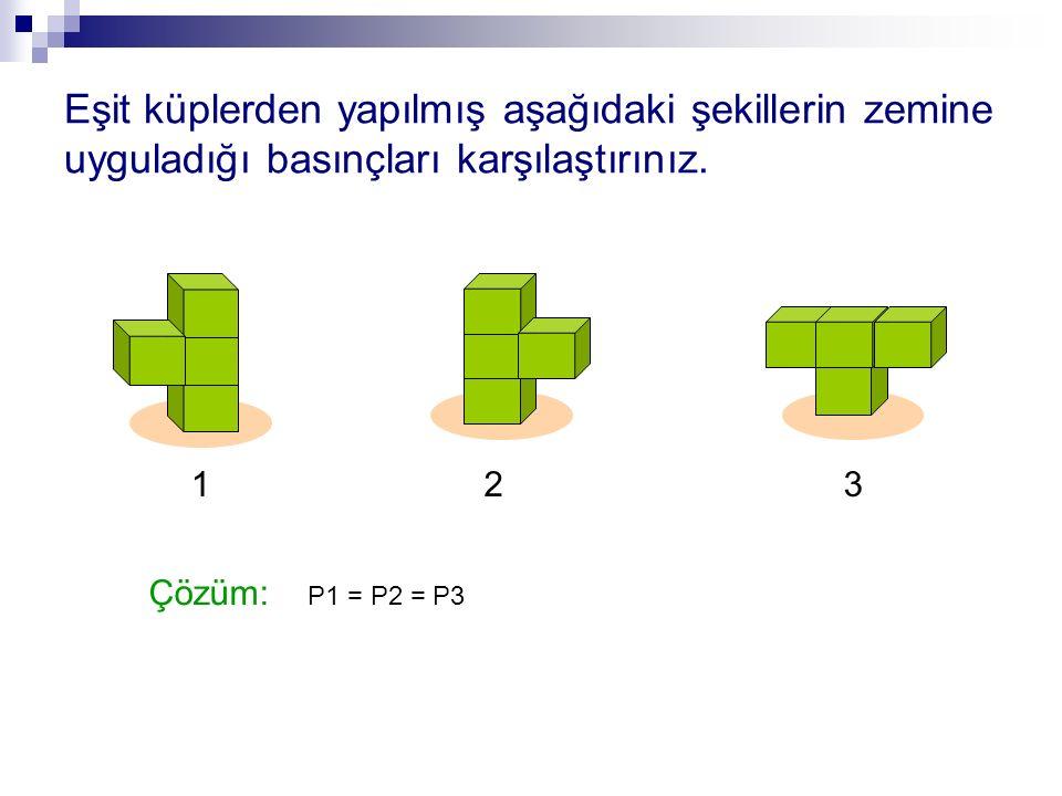 Eşit küplerden yapılmış aşağıdaki şekillerin zemine uyguladığı basınçları karşılaştırınız.