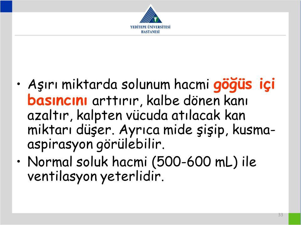 Normal soluk hacmi (500-600 mL) ile ventilasyon yeterlidir.