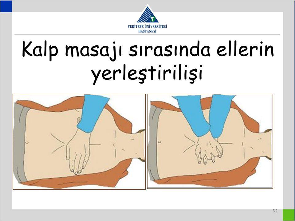 Kalp masajı sırasında ellerin yerleştirilişi