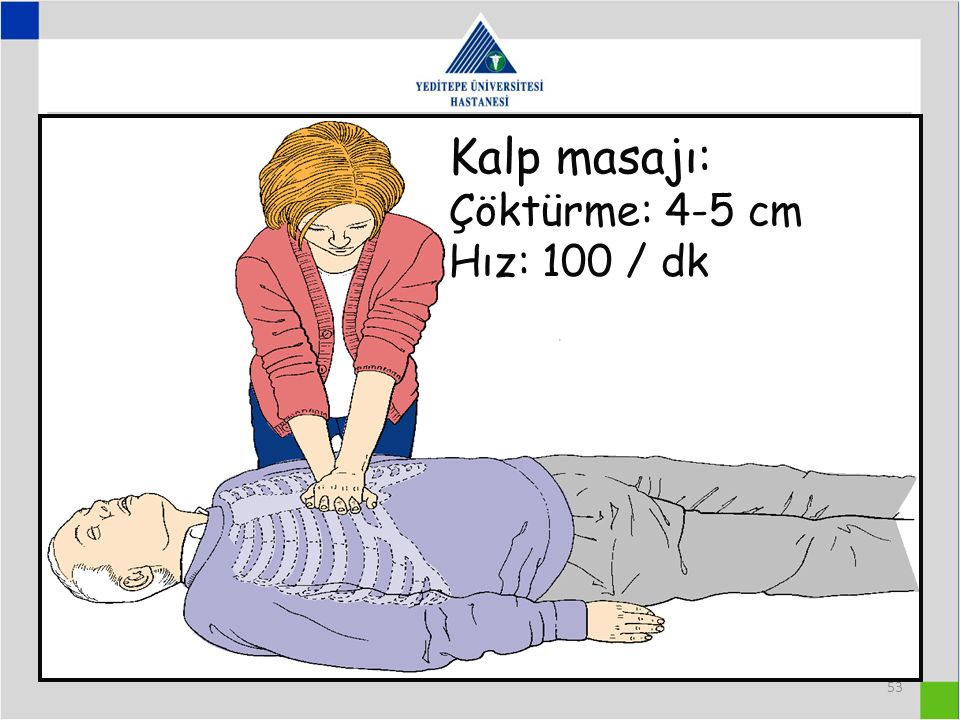 Kalp masajı: Çöktürme: 4-5 cm Hız: 100 / dk 53