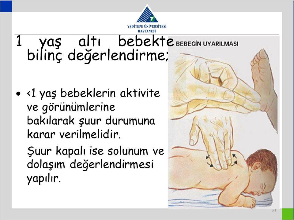 1 yaş altı bebekte bilinç değerlendirme;