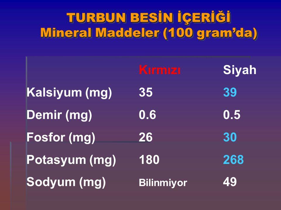 TURBUN BESİN İÇERİĞİ Mineral Maddeler (100 gram'da)