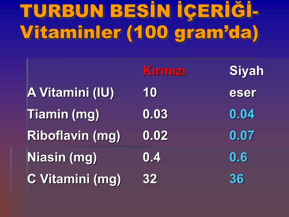 TURBUN BESİN İÇERİĞİ-Vitaminler (100 gram'da)