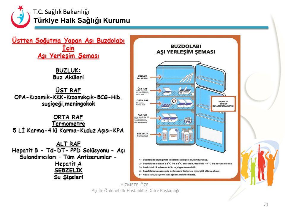 Üstten Soğutma Yapan Aşı Buzdolabı İçin Aşı Yerleşim Şeması
