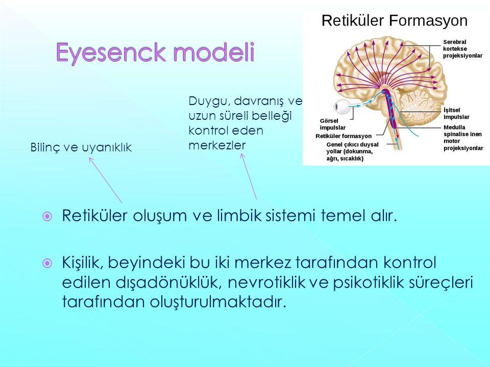 Eyesenck modeli Retiküler oluşum ve limbik sistemi temel alır.