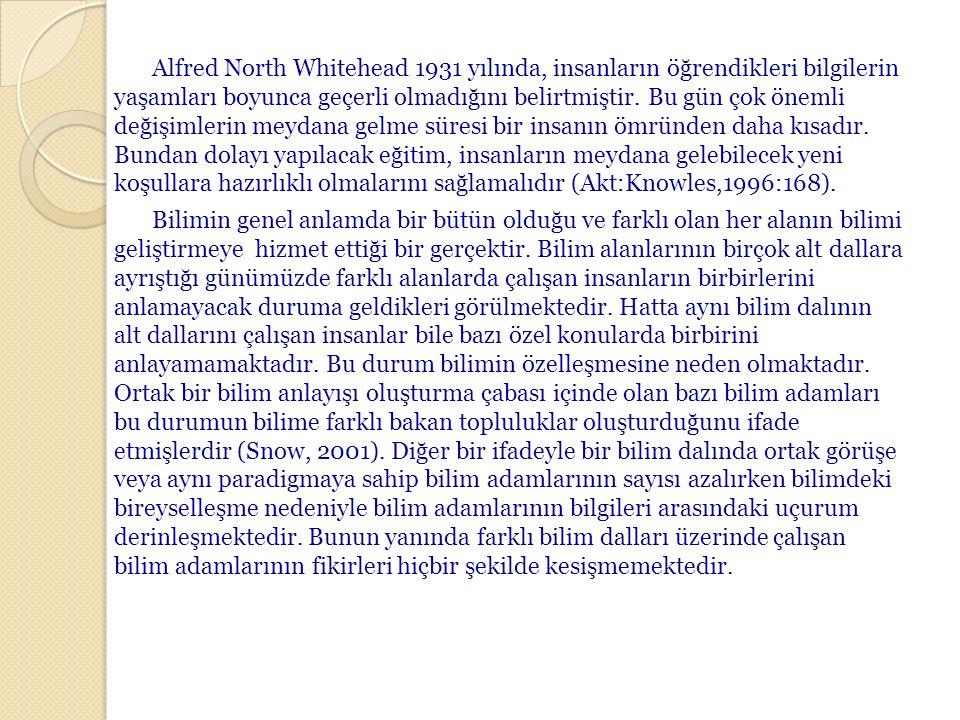 Alfred North Whitehead 1931 yılında, insanların öğrendikleri bilgilerin yaşamları boyunca geçerli olmadığını belirtmiştir.