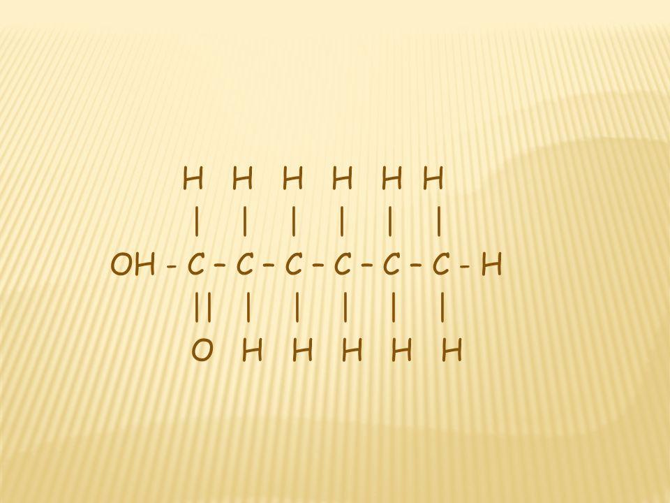 H H H H H H | | | | | | OH - C – C – C – C – C – C - H. || | | | | |