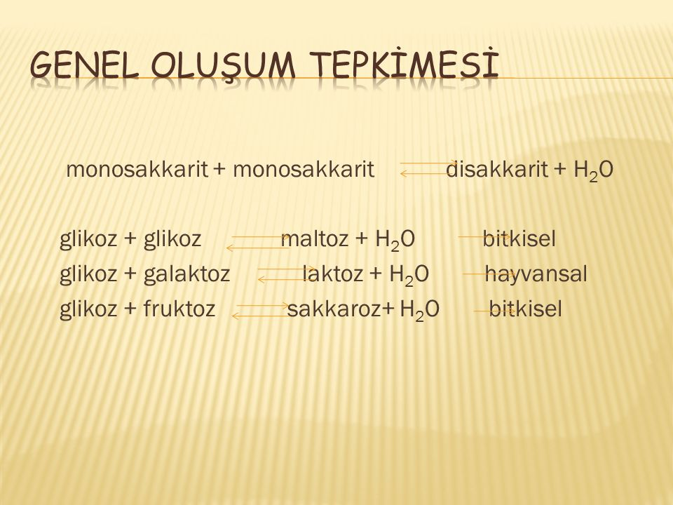 GENEL OLUŞUM TEPKİMESİ