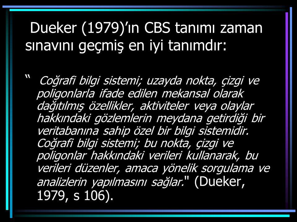 Dueker (1979)'ın CBS tanımı zaman sınavını geçmiş en iyi tanımdır: