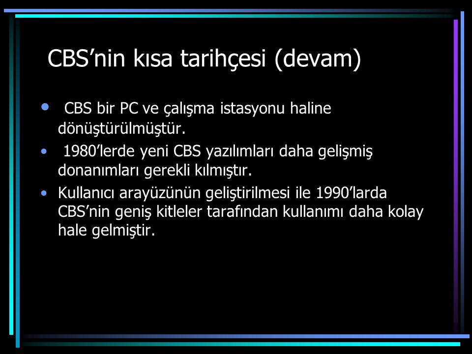 CBS'nin kısa tarihçesi (devam)
