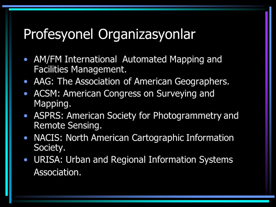 Profesyonel Organizasyonlar