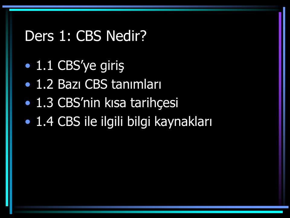 Ders 1: CBS Nedir 1.1 CBS'ye giriş 1.2 Bazı CBS tanımları