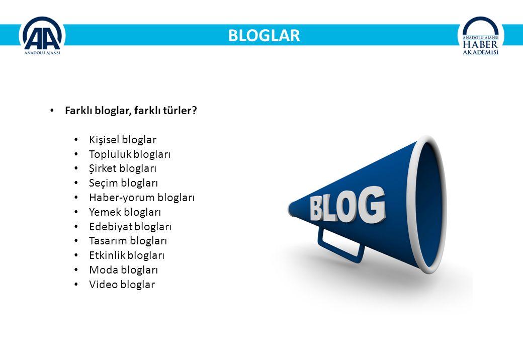 BLOGLAR Farklı bloglar, farklı türler Kişisel bloglar