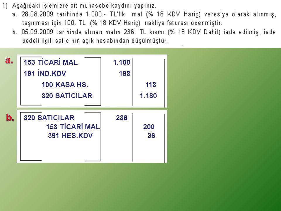 a. b. 153 TİCARİ MAL 1.100 191 İND.KDV 198 100 KASA HS. 118
