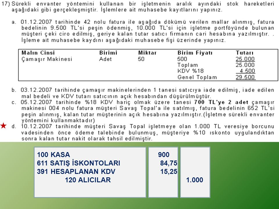 100 KASA 900 611 SATIŞ İSKONTOLARI 84,75.