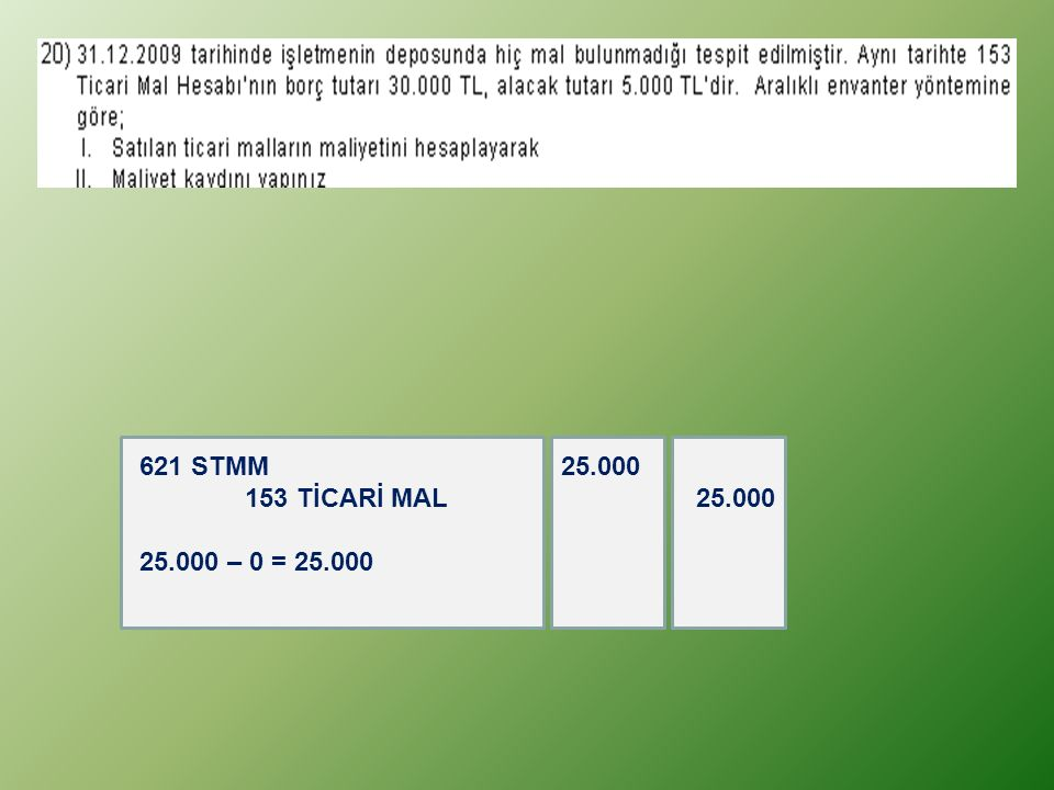 621 STMM 25.000 153 TİCARİ MAL 25.000 25.000 – 0 = 25.000