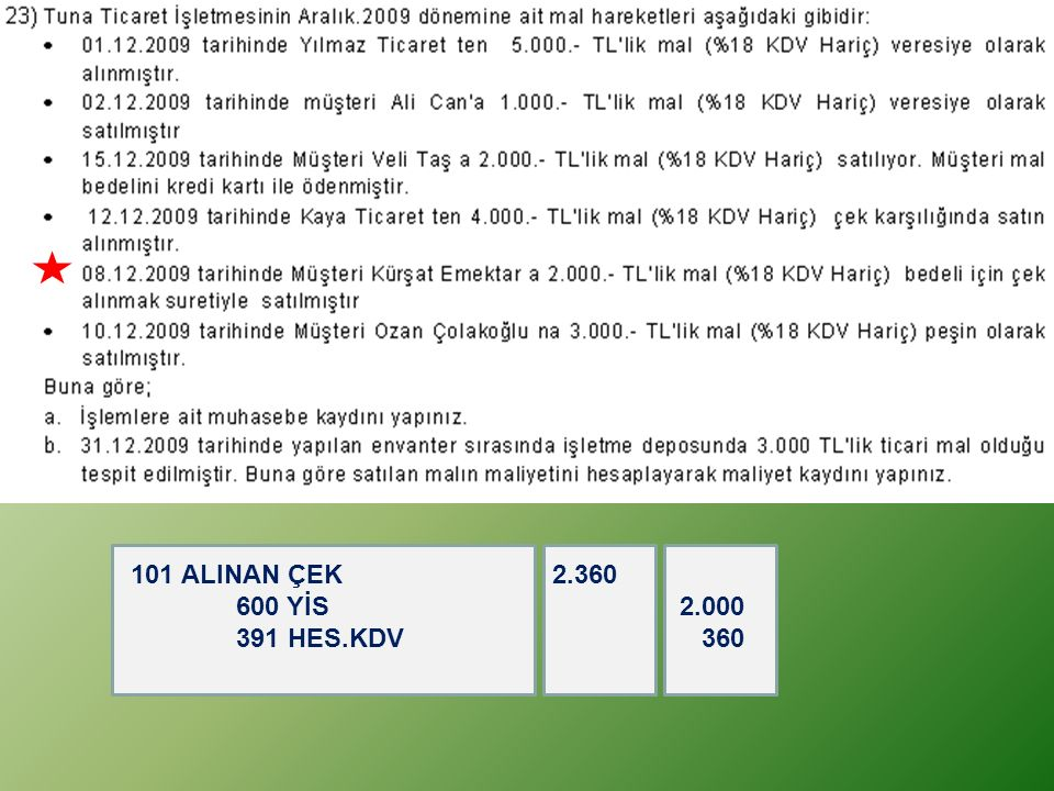 101 ALINAN ÇEK 2.360 600 YİS 2.000 391 HES.KDV 360