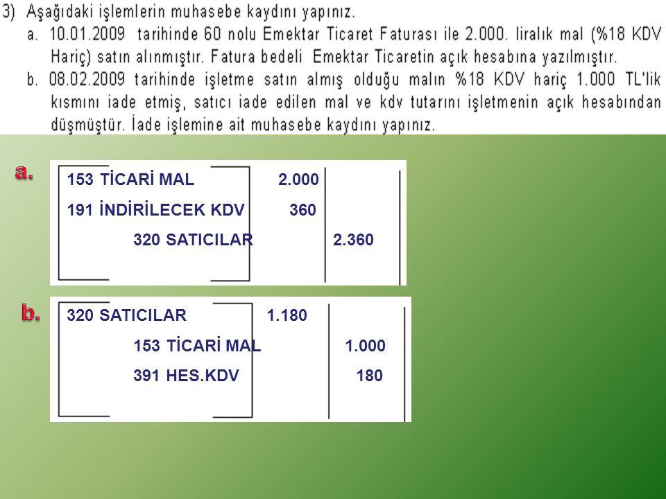 a. b. 153 TİCARİ MAL 2.000 191 İNDİRİLECEK KDV 360 320 SATICILAR 2.360