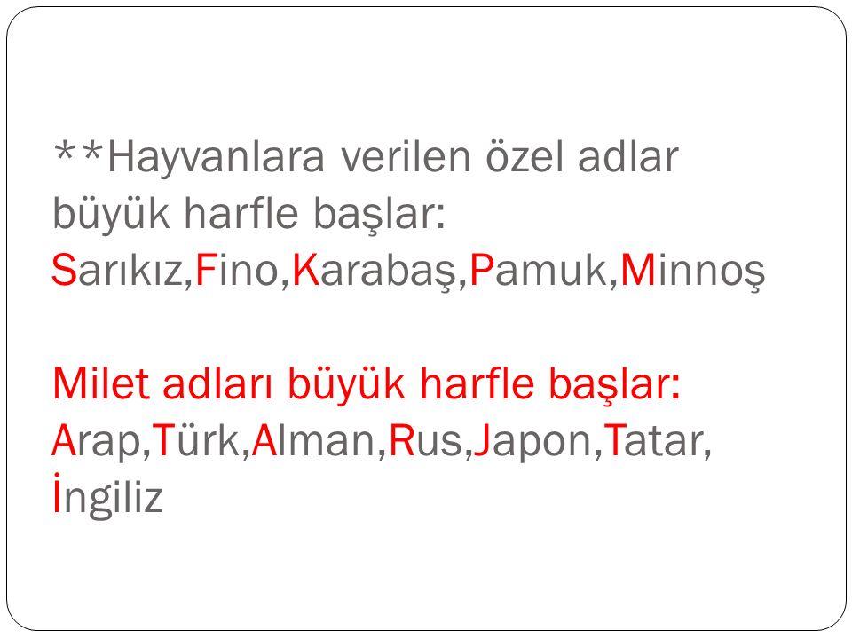 **Hayvanlara verilen özel adlar büyük harfle başlar: Sarıkız,Fino,Karabaş,Pamuk,Minnoş Milet adları büyük harfle başlar: Arap,Türk,Alman,Rus,Japon,Tatar, İngiliz